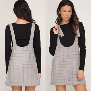 Dresses & Skirts - Plaid overall dress so comfy and cute! S - L